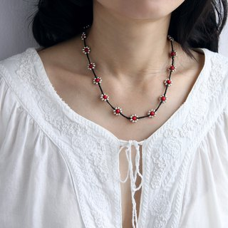 Beaded Silver Flower Necklaces Short Braided Coral Necklaces