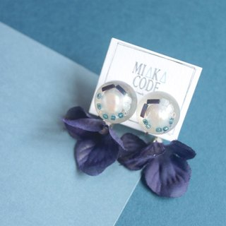 Earclips with Freshwater pearls resin jewelry & (Deep blue)Floral