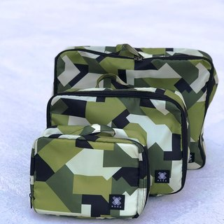 Gift water repellent lightweight design pattern light travel (set of three) travel storage bag – camouflage green