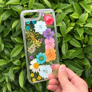 iPhone 7 Plus Dry Pressed Flowers Case Colourful Flowers 033