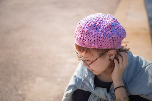 blossom_mixe color crochet beret. limited edition