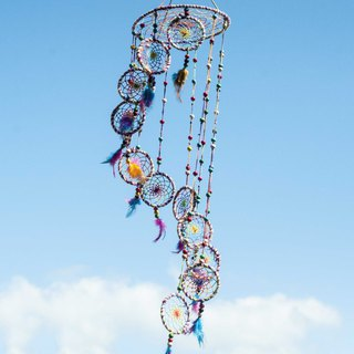 Hand-woven cotton and linen rainbow dream catcher Boho wool line feather dream catcher - candy rotating ladder