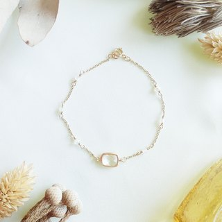 Little natural stone series - Moonstone Moonstone14K gold bracelet