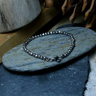Irregular Bracelet BLACK thin plate / Silver925 / Silver / irregular / manual /