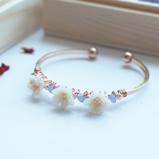Floral Daisy Rosegold-plated Bangle