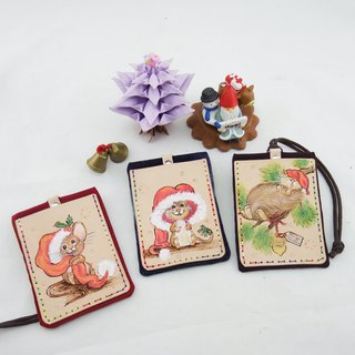 Hand made double leather card holder certificate set of Christmas squirrels