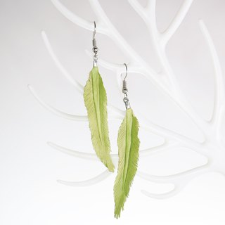 Leather Crave Earring Feather design - Grassy