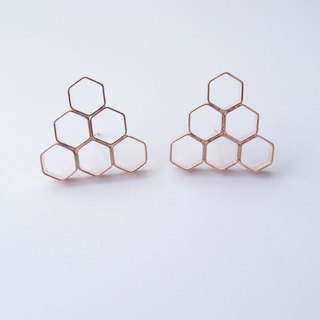 Geometric Landscape 8 Rose Metal Earrings