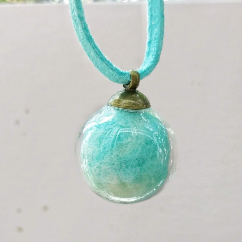 [2017 Pantone Color - Island Paradise] Glass Ball (with Felt Balls) Pendant Necklace