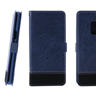 CASE SHOP Samsung Galaxy S9 拼格紋側掀皮套-藍(4716779659382)
