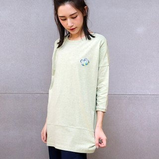 Embroidered long top (green)