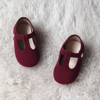Burgundy Baby Girl Shoes, Leather T Strap Mary Jane, Toddler Girl Shoes