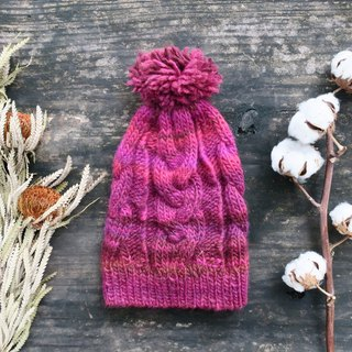 A mother 100% hand made cap - twist woven fur ball cap - raspberry red gradient / Christmas / gift