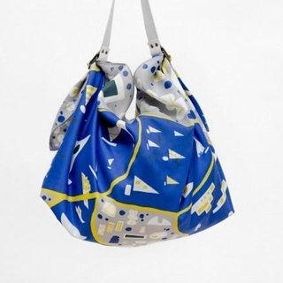 Stockholm Blue Furoshiki & White Leather Carry Strap Set