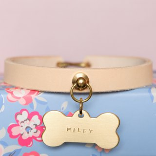 S-shaped hook pet cute leather collar _ with a brass dog bone shape brand one
