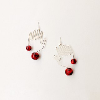 Hej, Hand Shaped Wire Earrings in silver with Red detail.