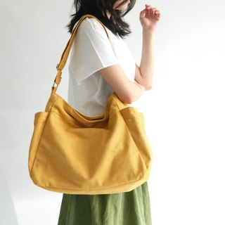 Mustard messenger bag, Canvas Diaper bag, 2 pocket shoulder bag no.101 RENEE
