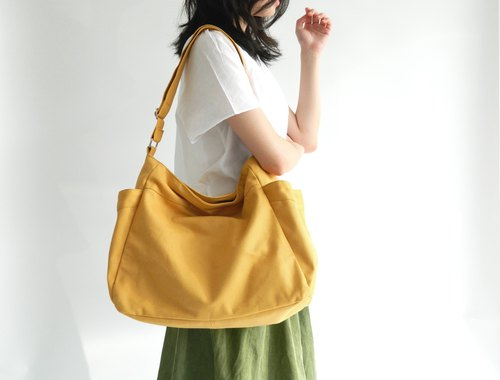 no.101 RENEE in Mustard messenger bag, Canvas Diaper bag, 2 pocket shoulder bag