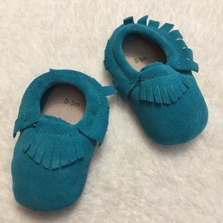 SanBelle Baby Fringed Moccasin Shoes ★Lether★0-18m Turquoise blue