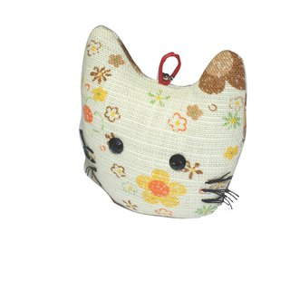 [AnnaNina] hand made cat charm ancient cloth beige flower