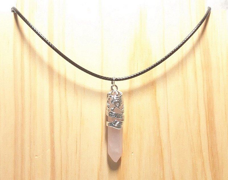 粉水晶 水晶柱 盤龍造型 項鍊