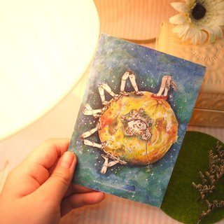 Original illustration postcard - can not stop the world (the moon, the night sky, mechanical, feet, eyes)