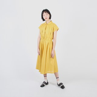 [Egg plant ancient] Sunshine, cotton and linen blended vintage dress