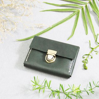 森下树SENSIASHU / card-type double purse / dark green / Italian yak leather