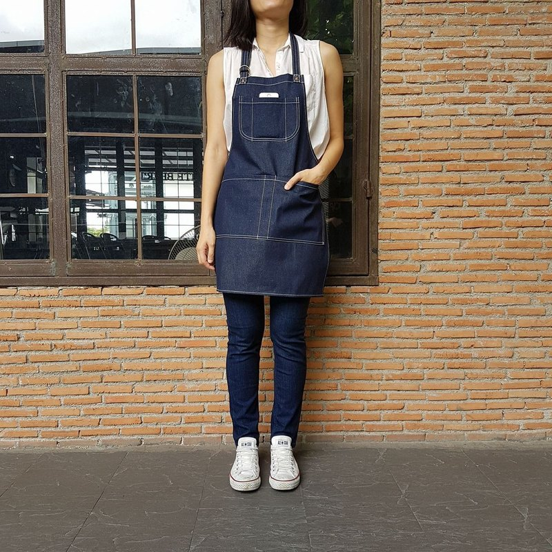 New Denim Apron no.02 Copper rivets 2 pockets / garden / barista / Handmade