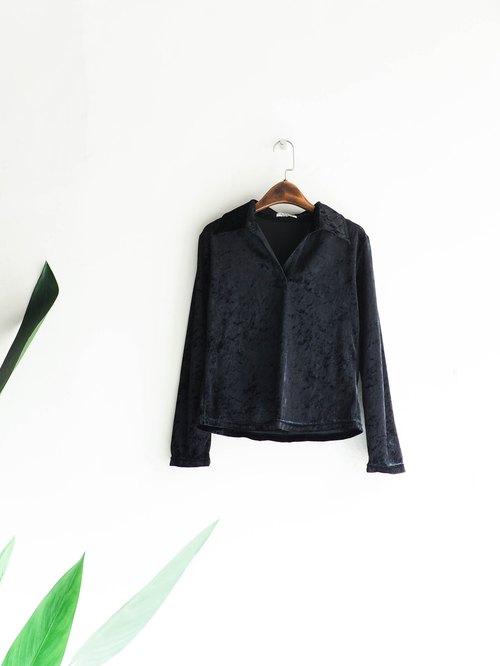 River Water - Pure black velvet weekend youth party antique cotton shirt shirt shirt oversize vintage
