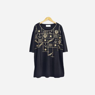 Dislocated vintage / black gold embroidery shirt no.834 vintage
