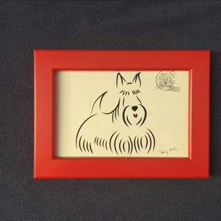 Q Family Postcard + Photo Frame (Red) Scottish Terrier