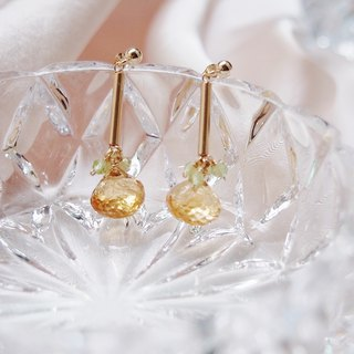 Swanlace simple citrine drop hand 14kgf gold earrings / ear clip