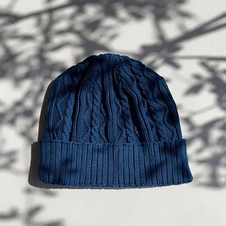 Indigo dyed 藍染 - Cable knitted cap cotton light blue ケーブル編みコットンニット