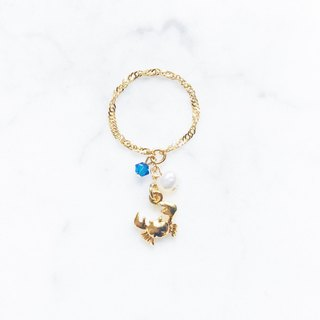 ::Côte d'Azur:: Swim the sea small crab pendant chain ring