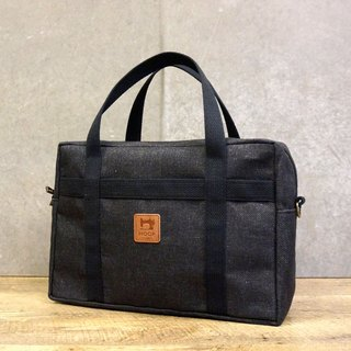 Casual canvas briefcase - (carbon black) can be placed A4 folder
