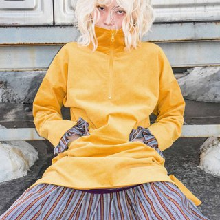 UU! BY UF9193 original 17 autumn and winter new corduroy stitching false two turmeric Wei dress