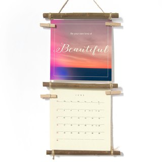 Cloud and Sky, 2018 Wall Calendar With handmade Ladder Shelf - Stocking Stuffer, Quote Print Calendar