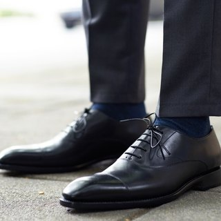 Black three joints Oxford shoes Goodyear suture handmade