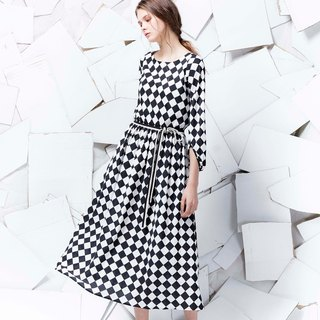 YUWEN checkered Yuanqun long dress -Chess
