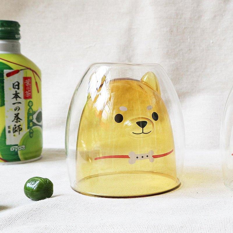 柴犬雙層玻璃杯-透黃