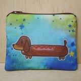 {可客製化手寫名字}手繪渲染水彩風格圖案 紅棕色 巧克力色 臘腸狗 鑰匙包 零錢包 卡片包