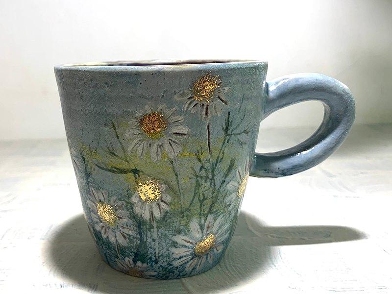 逆境勇者洋甘菊刻劃咖啡杯_陶器馬克杯