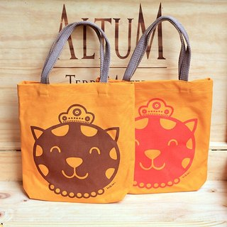 Cotton bag 招 Lucky cat small bag (coffee printing color)