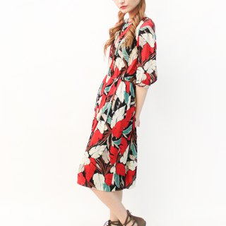 Japanese made retro adult sense leaf print five-point sleeve black red vintage dress Vintage Dress