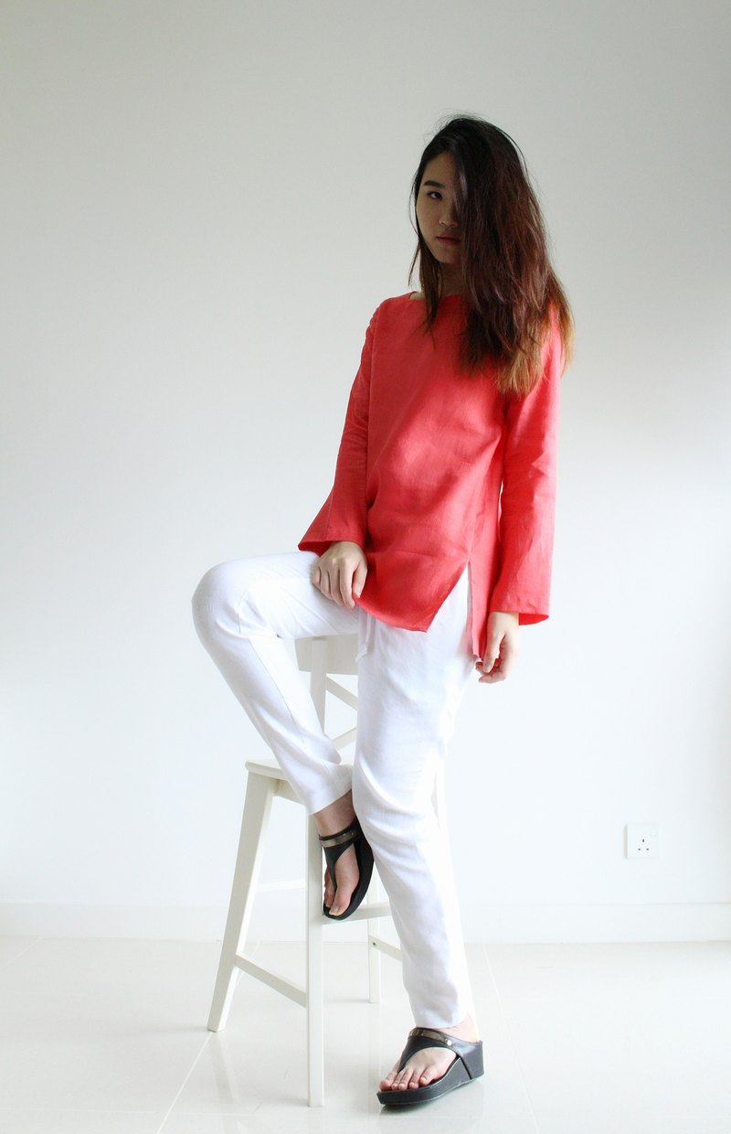 made to order linen blouse / clothing / casual / top / women /natural top E 34T