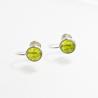 . Limited edition handmade earrings. Vegetation green crystal ear clip-on / ear pin green