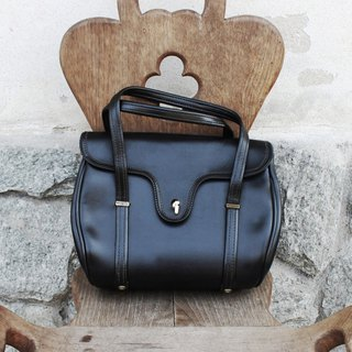 B175 (Vintage Leather Bag) (Made in Italy) elegant black hand-held antique small square bag (birthday gift Valentine's Day gift)