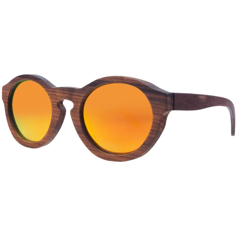 Plantwear European Handmade Wooden Sunglasses - Retro Series - Rose Solid Wood Frame + Camouflage Orange Lens