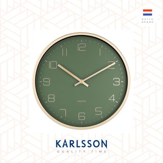 Karlsson 亮金框綠色掛鐘Wall clock Gold Elegance green